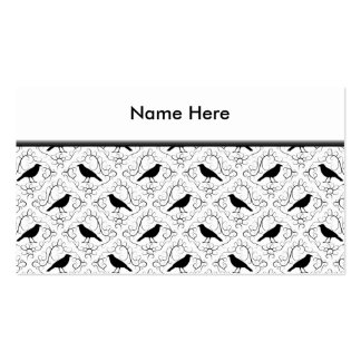 Black and White Elegant Crow Pattern. Pack Of Standard Business Cards