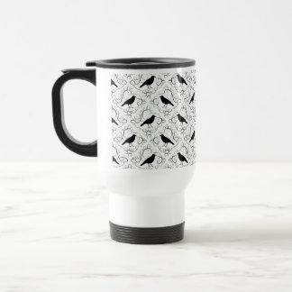 Black and White Elegant Crow Pattern. Travel Mug