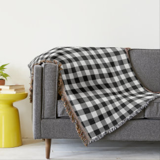 Black And White Elegant Gingham Checks Pattern Throw Blanket