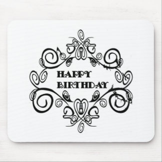 Black And White Elegant Happy Birthday Mouse Mat