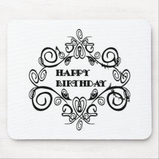 Black And White Elegant Happy Birthday Mouse Pad