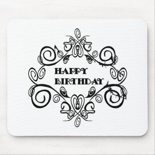 Black And White Elegant Happy Birthday Mousemats