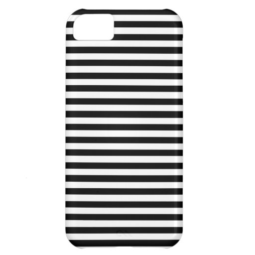Black And White Elegant Horizontal Stripes Pattern Cover For iPhone 5C