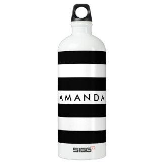 Black and white elegant striped customizable water bottle