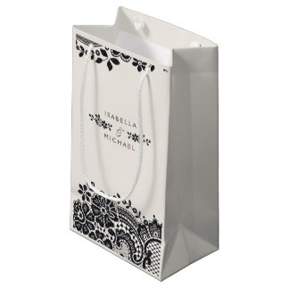 Black and white elegant vintage lace wedding favor small gift bag