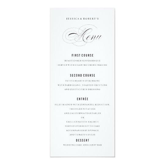 Black and white Elegant Wedding Menu Script Card