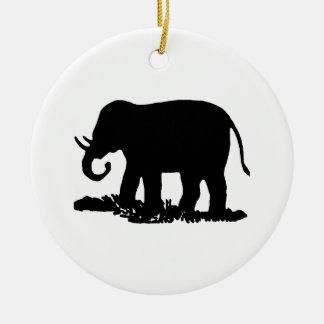 Black and White Elephant Silhouette Christmas Ornament