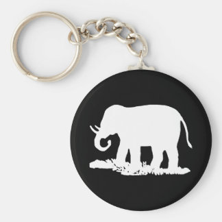 Black and White Elephant Silhouette Key Ring