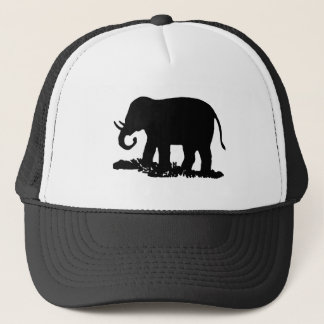 Black and White Elephant Silhouette Trucker Hat