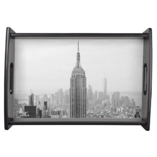 Black and White Empire State Building Manhattan Serving Tray