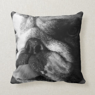 Black and White English Bulldog Puppy Cushion