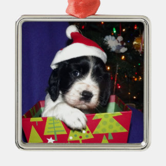 Black and White English Springer Spaniel Christma Silver-Colored Square Decoration