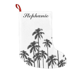Black and White Exotic Tropical Palm Trees Small Christmas Stocking
