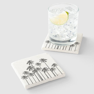 Black and White Exotic Tropical Palm Trees Stone Coaster