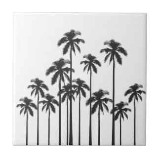 Black and White Exotic Tropical Palm Trees Tile