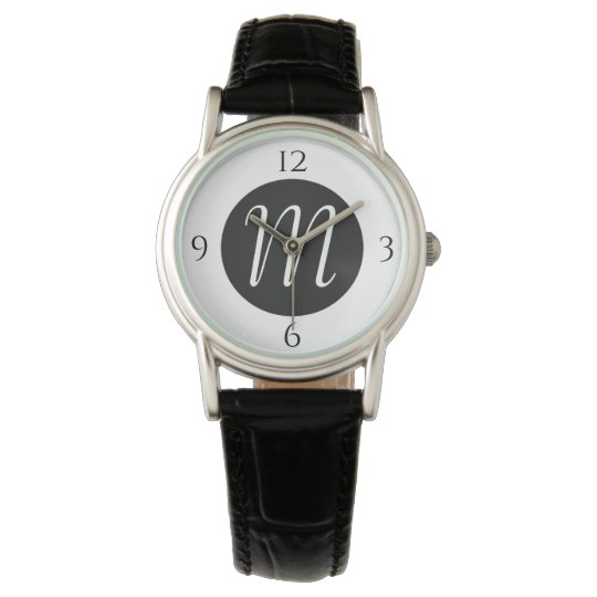 Black and White Faced Monogram Watch