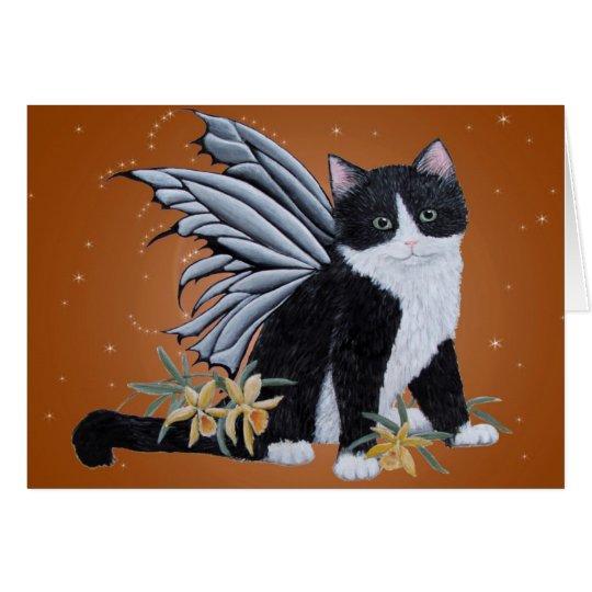 Black and White fairy Kitten Card