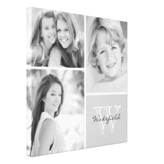 Black and White Family Monogram Photo Collage Canvas Print