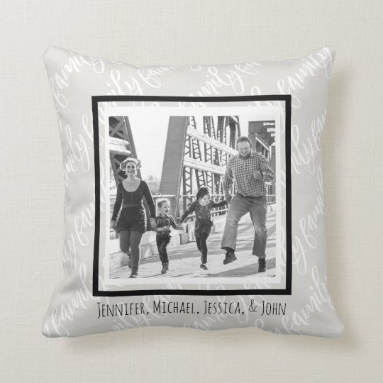 Black and White Family Photo and Names Cushion