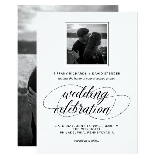 Black and White Fancy Script Wedding Photo Card