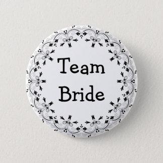 Black and White Fancy Team Bride Button