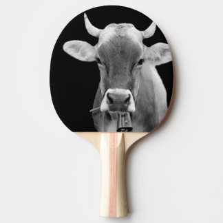 Black and white farm animal cow photo ping pong paddle