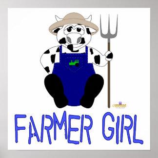 Black And White Farmer Cow Blue Farmer Girl Posters