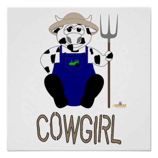 Black And White Farmer Cow Brown Cowgirl Posters