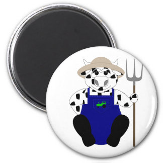 Black And White Farmer Cow Magnets