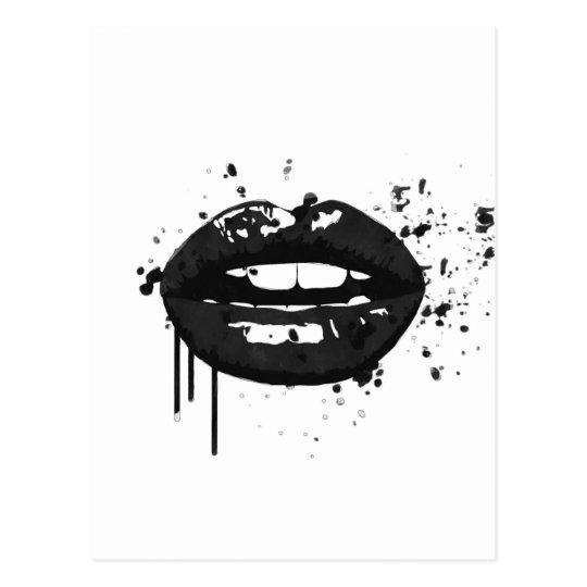 Black and white fashion glamour lips illustration postcard
