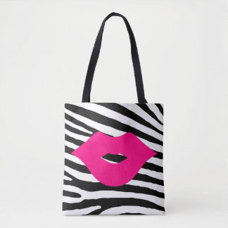 Black and white fashion glamour trendy pink lips tote bag