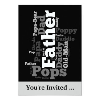 Black and White Father Word Collage Card