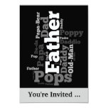 """Black and White Father Word Collage 3.5"""" X 5"""" Invitation Card"""