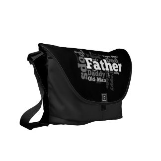 Black and White Father Word Collage Commuter Bags