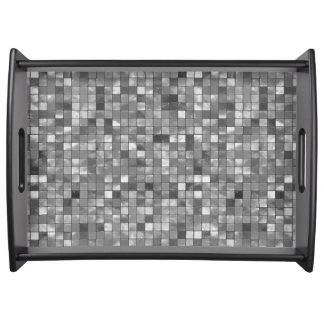 Black and White Faux Ceramic Tile Pattern Serving Tray