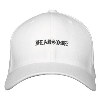 Black and White Fearsome Mens Hat Ole English Embroidered Baseball Cap