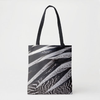 Black And White Feather Abstract Tote Bag