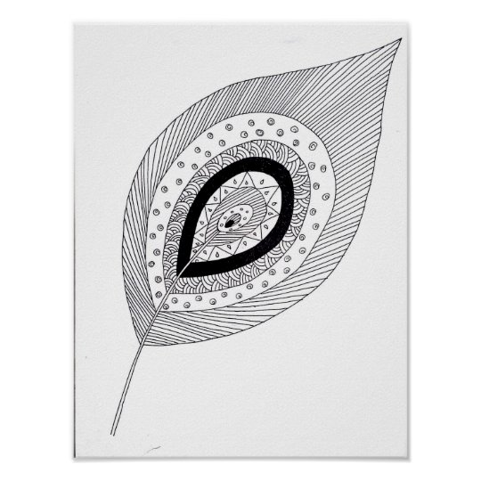 Black and white feather doodle poster