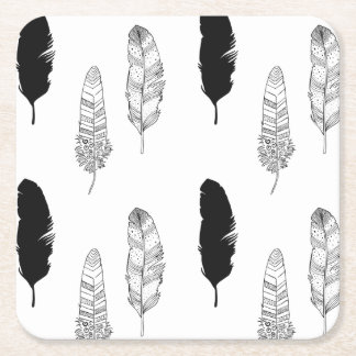 Black and White Feathers Square Paper Coaster