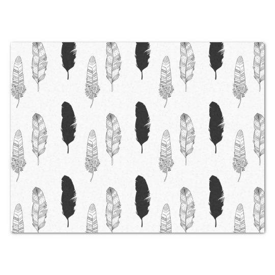 Black and White Feathers Tissue Paper