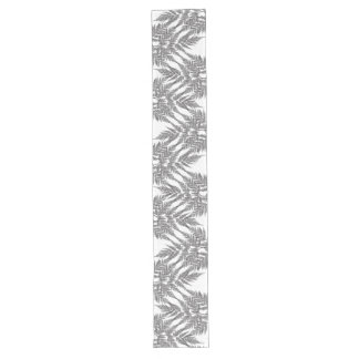 Black and White Fern Silhouette Pattern Long Table Runner