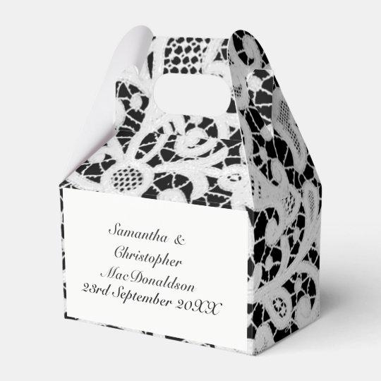 Black and white filigree lace wedding favour box