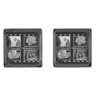 Black and White Film Reel Gunmetal Finish Cufflinks