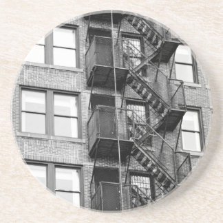 Black and White Fire Escape Coaster