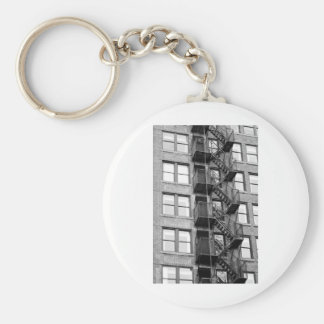 Black and White Fire Escape Key Ring