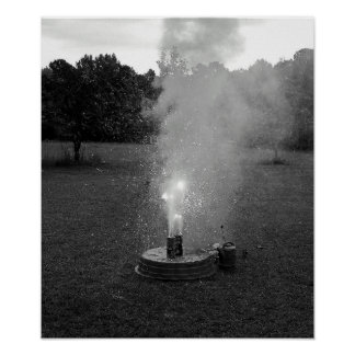 Black and white fireworks at home poster