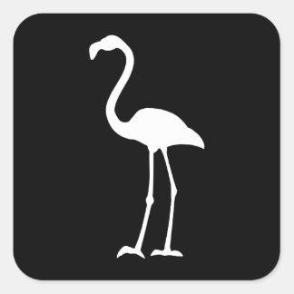 Black and White Flamingo Square Sticker