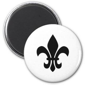 Black and White Fleur de Lis 6 Cm Round Magnet