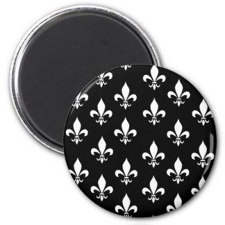 Black and White Fleur de Lis Pattern 6 Cm Round Magnet