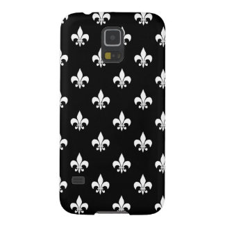 Black and White Fleur de Lis Pattern Galaxy S5 Case